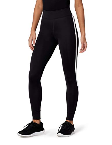 Amazon-Marke: AURIQUE Damen 7/8-Sportleggings mit Seitenstreifen, Schwarz (Black), 38, Label:M