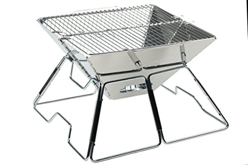 AceCamp Holzkohlegrill tragbarer Klappgrill Faltgrill Camping-Grill Garten Party BBQ Edelstahl Grill, (weitere Größen) (Small 34 x 36 x 22 cm)