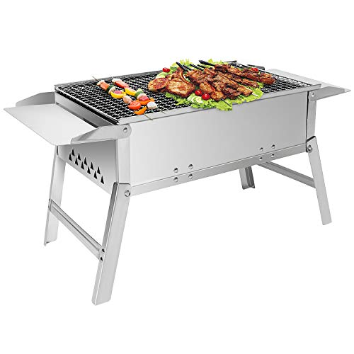 Sunjas Holzkohlegrill, Picknickgrill tragbar, Klappgrill Outdoor, BBQ Grill Portable, Tischgrill Holzkohle Grill für Party Garten Camping, 45x6.5cm