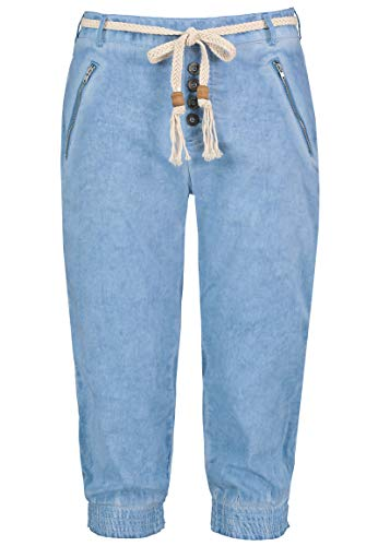 Sublevel Damen Baumwoll Capri Stoff-Hose mit Bindegürtel Light-Blue L
