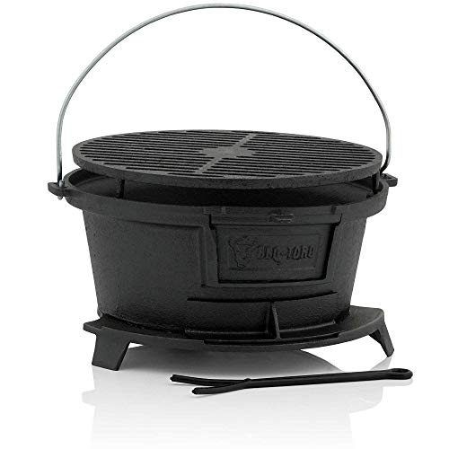 BBQ-Toro Gusseisen Grilltopf mit Grillrost | 32 x 33 x 18 cm | Hibachi Style Holzkohle Campinggrill