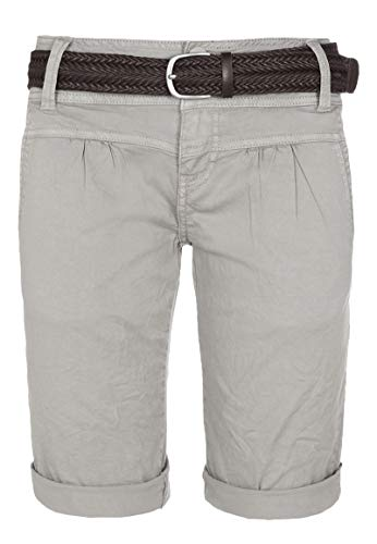 Fresh Made Damen Bermuda-Shorts im Chino Style mit Gürtel Light-Grey L