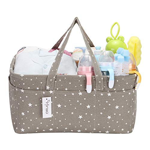 Hinwo Baby Windel Caddy 3-Compartment Infant Nursery Tote Aufbewahrungsbehälter Tragbare Organizer Neugeborenen Dusche Geschenkkorb mit abnehmbarem Teiler 11 unsichtbaren Taschen für Windeln